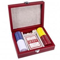 Набор для покера Duke CCT00813 в красном кожаном кейсе