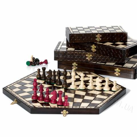 Деревянные шахматы на троих большие Sunrise Poland 47 см CH162
