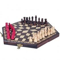 Деревянные шахматы на троих маленькие Sunrise Poland 28 см CH164