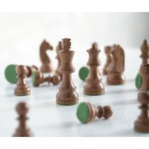 Шахматные фигуры из дерева Немецкий Стаунтон №5 коричневые