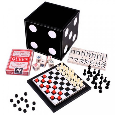 Игровой набор Кубик 5 в 1 Duke карты, шахматы, шашки, домино и кости