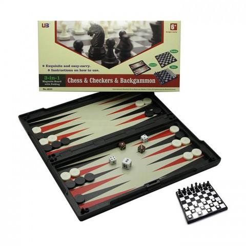 Игровой набор 3 в 1 шахматы, шашки, нарды магнитные 32х32 см
