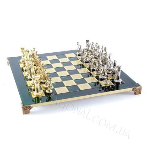 Шахматный набор греко римская война зеленый Manopoulos 44x44 см