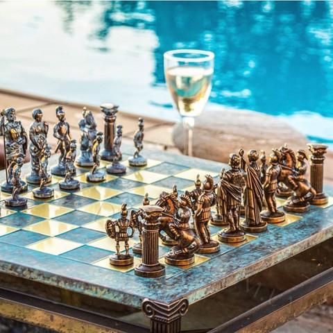 Оригинальные шахматы Manopoulos Греко-римские S11TIR бирюзовые 44х44 см