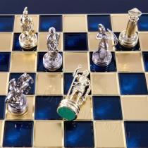 Шахматы Manopoulos S15BLU синие Лучники 28x28 см