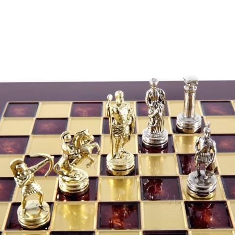 Шахматы Manopoulos красные S15RED Лучники 28x28 см
