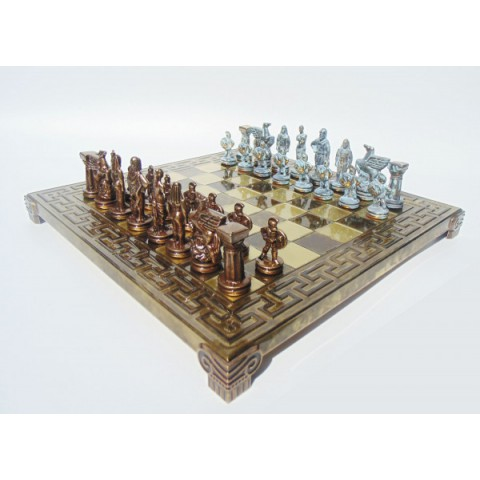 Шахматы спартанская война в деревянном футляре Manopoulos 28x28 см