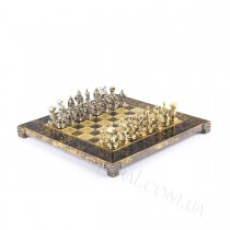 Подарочные шахматы Спартанский воин в деревянном футляре коричневые 28x28 см