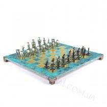 Эксклюзивные шахматы Manopoulos S23BTIR Кикладское искусство бирюзовые 44х44 см