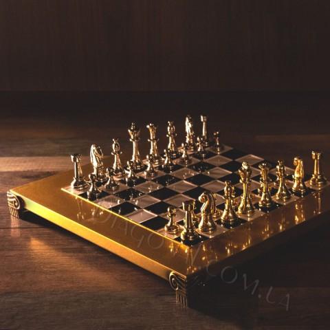 Набор шахматный классический в деревянном футляре черный с 28x28 см