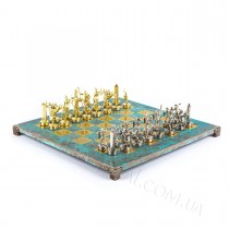 Набор шахмат S4TIR Manopoulos Греческая мифология бирюзовые 36х36 см