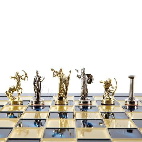 Шахматы подарочные в деревянном футляре Manopoulos S5BLU Геркулес 36х36 см