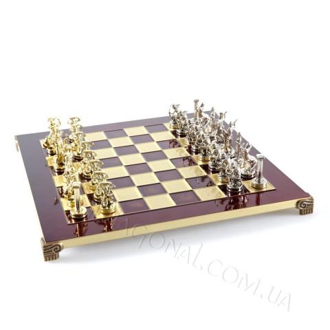Шахматы красные Manopoulos S6RED Титаны в деревянном чехле 36x36 см