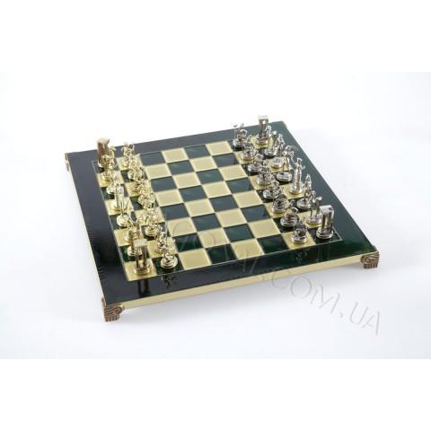 Шахматы минойский воин в деревянном футляре Зеленые 36x36 см