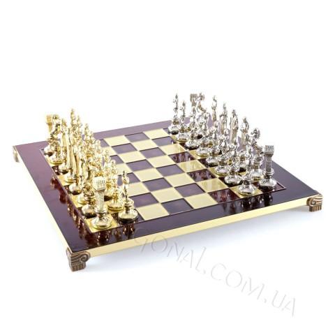 Manopoulos S9RED шахматы Ренессанс-Рыцари в деревянном чехле 36x36 см