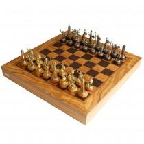 Шахматы в деревянном чехле Manopoulos SEK4 Оливковый совет и Троянская война латунь
