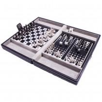Шашки шахматы нарды 3 в 1 SG1150 Duke в кожаном кейсе