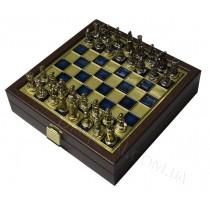 Шахматы дорожные византийская империя в деревянном футляре синие 20x20 см