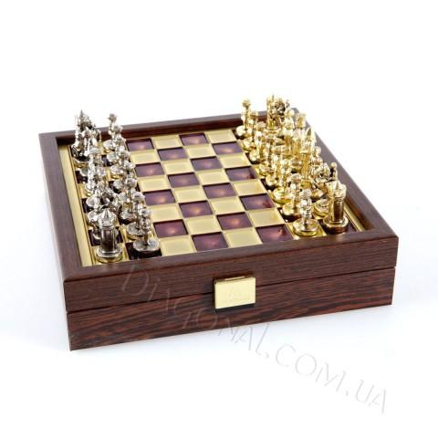 Шахматы дорожные византийская империя в деревянном футляре красные 20x20 см