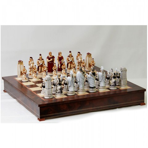 Шахматные фигуры Nigri Scacchi Троянская битва big size