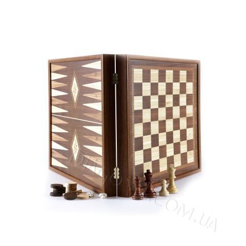 Редкий набор нард в деревянном футляре размером 26x26 см