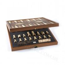 Набор 3 в 1 шахматы, шашки и нарды STP36E Manopoulos в деревянном чехле 39х39 см