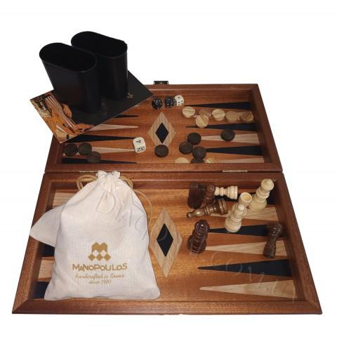 Деревянный набор 3 в 1 нарды шашки шахматы натуральная древесина цвет доски махагон 32x30 см